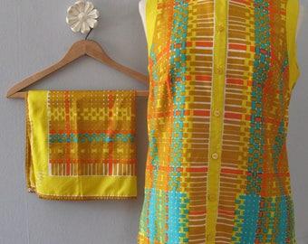 Vera Neumann blouse - 60s vintage bright yellow tunic geometric print top sleeveless button shirt scarf two 2 piece boho hippie small medium
