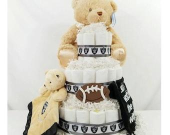 Raiders inspired Diaper Cake| Football Diaper Cakes| Raiders Baby Shower Gifts| Baby Gifts| Centerpieces| Baby Shower Gifts| Baby Cake| Bear