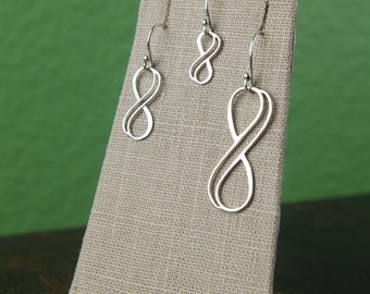 Double wire infinity earrings in sterling silver, infinity symbol, bridal jewelry, sterling silver earrings, infinity jewelry, mother's day