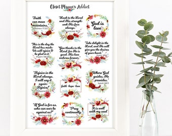 Christian Bible Verses Scriptures Planner Stickers | Watercolour Flowers | Flowers Stickers | Scriptures | Bible Verses Stickers (MS-023)