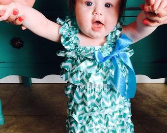 Baby Toddler Infant Girls Turquoise Chevron Petti Romper Jumper