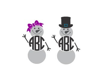 Snowman and Woman (Vector Cuttable Files) Monogram NOT Included svg dxf pdf png