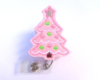 Christmas Retractable Badge Holder - Christmas Tree - light pink felt - nurse badge reel medical badge reel - holiday winter