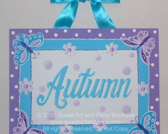 Butterfly, Daisy, Canvas name sign, Personalized, name sign, Custom art, Purple, Lavender, Aqua, Nursery wall art, Girls nursery art
