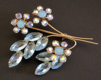 Vintage Juliana D&E Brooch Blue Aqua Rhinestone Flower Pin