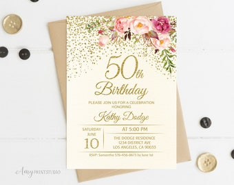 50th birthday invitations etsy 50th birthday invitation floral ivory birthday invitation cream birthday invite personalized digital file w56 stopboris Image collections