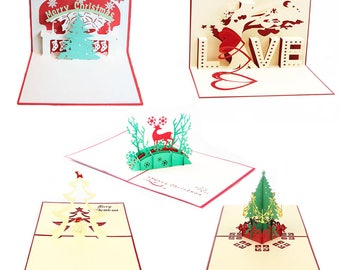 Creative 3D Pop Up Greeting Card Happy Holiday Merry Xmas 5 Different Designs(Pack of 5)