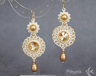 Swarovski beaded earrings long earrings swarovski pearl beadwork earrings crystal earrings bead weaving earrings gold and cream earrings