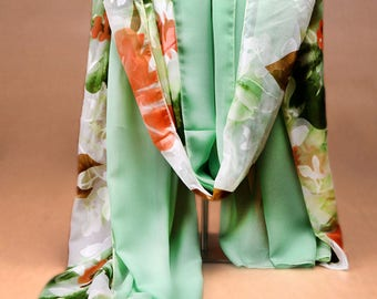 Green Floral Chiffon Scarf - Large Floral Shawl - Polyester Chiffon Scarf - Green Floral Printed Scarf - Handmade Floral Scarf-2018AA