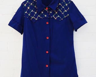 70s Embroidered Button Up Blouse