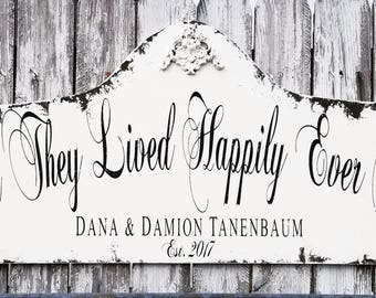 And They Lived Happily Ever After Sign | Wedding Sign | Personalized Established Sign | Custom Wooden Name Sign | Vintage Wedding Decor