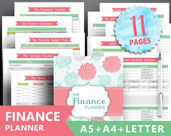 """Financial planner printable: """"FINANCE TRACKER"""" Letter + A4 + A5, debt payment expenses tracker, monthly savings, money planning bill payment"""