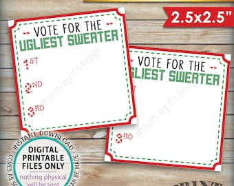 """Ugly Christmas Sweater Voting Ballots, Vote for the Ugliest Christmas Sweater Party, Tacky Sweater, Instant Download PRINTABLE 2.5"""" Ballots"""