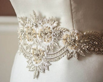Ivory bridal sash -  Jard  (Made to Order)