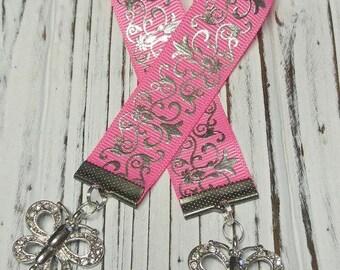 Bookmark, Pink Butterfly Bookmark, Pink Bookmark, Fancy Bookmark