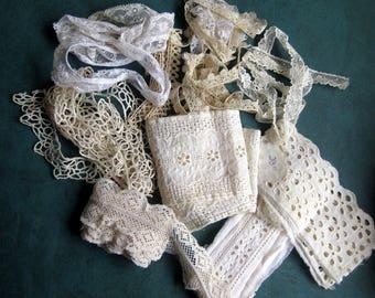 "Lot of 9 yards Vintage Laces Fine Net,Eyelet Insert 1/2"" to 3"" Vintage Cotton Dolls Crafts Crazt Quilts"