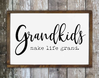 Grandkids make life grand sign, Living room wall decor, Gift for grandparents, Wooden wall sign, Hand painted sign, Home decor sign HS168