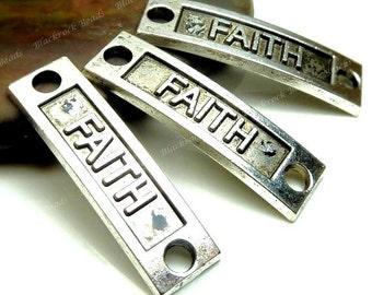 4 Faith Curved Connectors Antique Silver Tone Metal - 34x9mm - Charm, Inspiration Pendant, Link - BM1