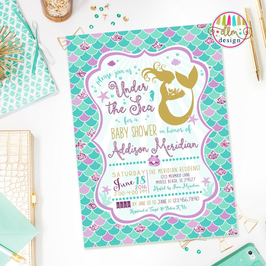 Mermaid Baby Shower Invitation Under The Sea Baby Shower