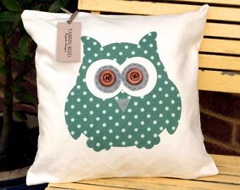 "HALF PRICE! Owl Cushion - Green Polka Dot, Tartan, Pink Polka Dot, Floral  ""The Owls of Hoot"" Collection, Tamsin Reed Designs"