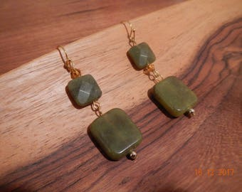 Gold-tone Olive Green Semi-Precious Stone Dangle Earrings
