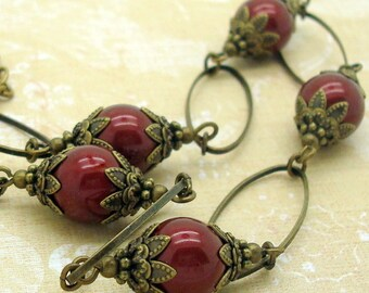 Necklace Handmade with Bordeaux Wine Red Round Swarovski Pearls and Brass Hoops in the Victorian Style