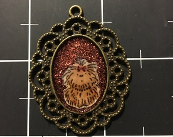 Longhaired Dog Pendant, Yorkie, Cairn Terrier, Puli, 50% of the proceeds go to the current selected animal charity