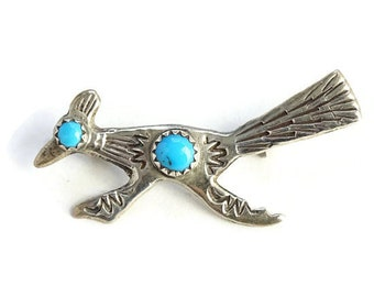 Vintage Native American Turquoise Road Runner Pin Brooch Hallmarked Sterling
