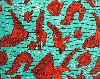 Wax Print, Teal and Dark Orange Ankara Fabric, 6 yards, Made in Ghana, Ethnic print fabric, Wax print, Crevettes, African fabric shop