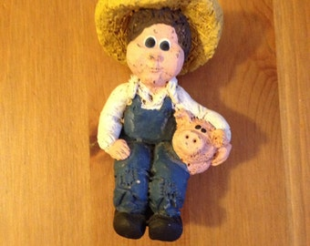 Boy Figurine Straw Hat Vintage Collector Statue - A Farm Boy and His Baby Pig