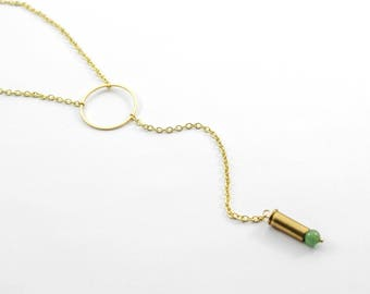 """""""Ring of Fire"""" Jade Dainty Y Necklace"""