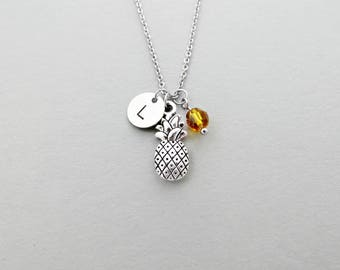 Pineapple Initial Necklace Personalized Hand Stamped - with Silver Pineapple Charm and Custom Bead