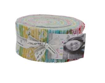 "Bungalow Jelly Roll Kate Spain Moda Fabrics, 40 2.5""x44"" Strips, Sewing Gift, Quilting Gift, Pineapple Fabric"