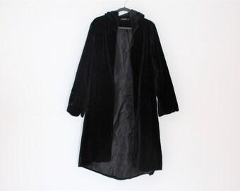 Black Velvet Coat Hooded Brand VERNISSACE Long Womens Fitted Gothic Boho Party jacket Black Velveteen Jacket M/L  size