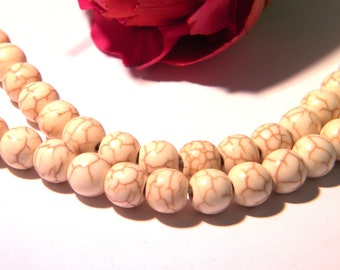 25 beads summary - 8 mm - ivory howlite with visible crazing - H35