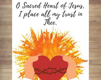 Sacred Heart of Jesus Religious Art Print Spiritual Wall Art Inspirational Prints