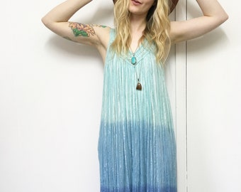 Vintage Boho Dress, Grecian Dress, Blue Dress, Hippie Dress, Vintage Maxi Dress, S-M