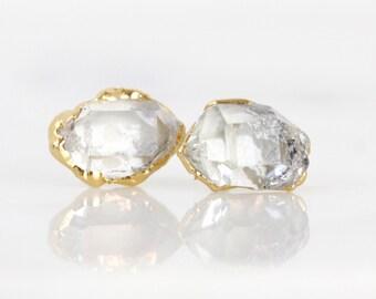 herkimer diamond earrings | raw quartz studs | raw crystal studs | april birthstone studs | raw diamond earrings | herkimer diamond jewelry