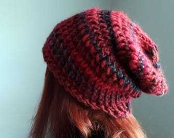 Hell's Ashes Red and Black Knitted Slouch Foldable Hat Small to Medium Size Irish Handmade