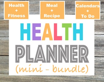 Weight Loss Planner, Diet Planner, Fitness Planner, Meal Planner, Recipe Planner, Menu Plan - From the Luminous Collection - 3 Items