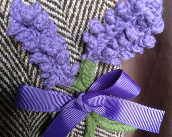Crocheted lavender brooch
