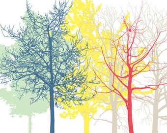 The Trees 3, Fine Art Print, Wall Decoration, Modern Home Decor, Tree Print, Tree Art, Large Poster, Forest Yellow Red Blue sale buy 2 get 3