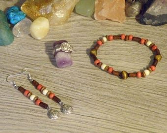 Tiger's Eye & Wooden Jewelry Set with Chinese Coin Charms, Silver Wire Ring, Good Luck, Grounding, Creative, Brave, Charming, Compassionate