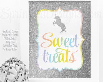 Sweet Treats Dessert Table Sign, Printable Rainbow Unicorn First Birthday Party Decorations, Unicorn Party Favors Candy Bar Sign Printables