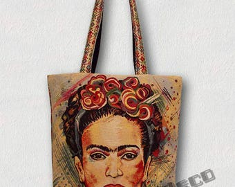"""Sac cabas""""FRIDA KAHLO"""" Fait main-Portrait graphique design Frida Kahlo/Couronne de fleurs aux couleurs vives."""