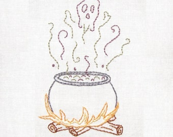 Witch's Cauldron Halloween Hand Embroidery Pattern PDF