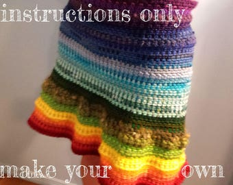 INSTRUCTIONS ONLY - Crochet your own Rainbow Stashbuster Wrap Skirt Pattern Download
