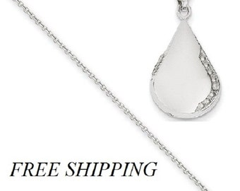 14K White Gold 21mm Tear Drop Diamond Set Locket with 14 Chain