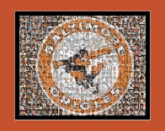 Baltimore Orioles Photo Mosaic Art Print, created using the  Greatest Orioles Players of all Time. Free Shipping