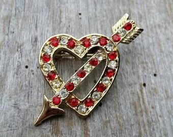 Rhinestone Heart and Arrow Brooch